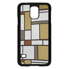 Fabric Textures Fabric Texture Vintage Blocks Rectangle Pattern Samsung Galaxy S5 Case (Black)
