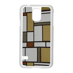 Fabric Textures Fabric Texture Vintage Blocks Rectangle Pattern Samsung Galaxy S5 Case (White)