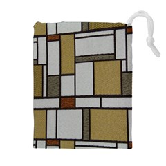 Fabric Textures Fabric Texture Vintage Blocks Rectangle Pattern Drawstring Pouches (Extra Large)