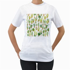 Flowers Pattern Women s T-Shirt (White) (Two Sided)