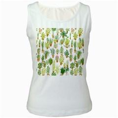 Flowers Pattern Women s White Tank Top