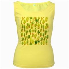 Flowers Pattern Women s Yellow Tank Top