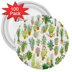 Flowers Pattern 3  Buttons (100 pack)