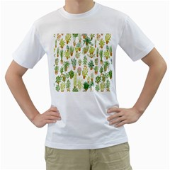 Flowers Pattern Men s T Shirt (white) (two Sided)