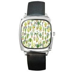 Flowers Pattern Square Metal Watch