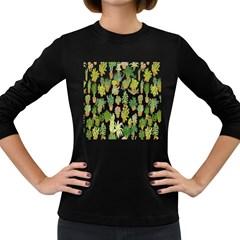 Flowers Pattern Women s Long Sleeve Dark T Shirts