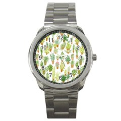 Flowers Pattern Sport Metal Watch