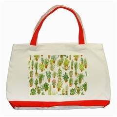 Flowers Pattern Classic Tote Bag (Red)