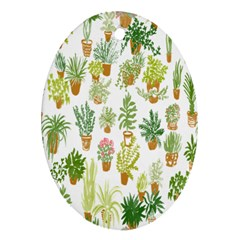 Flowers Pattern Oval Ornament (Two Sides)