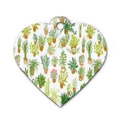 Flowers Pattern Dog Tag Heart (One Side)