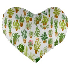 Flowers Pattern Large 19  Premium Heart Shape Cushions