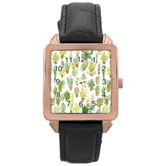 Flowers Pattern Rose Gold Leather Watch