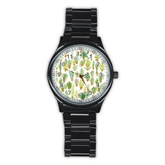 Flowers Pattern Stainless Steel Round Watch