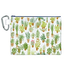 Flowers Pattern Canvas Cosmetic Bag (XL)