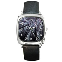 Fractal Art Picture Definition  Fractured Fractal Texture Square Metal Watch