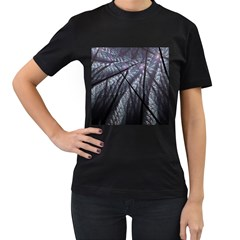 Fractal Art Picture Definition  Fractured Fractal Texture Women s T-Shirt (Black) (Two Sided)