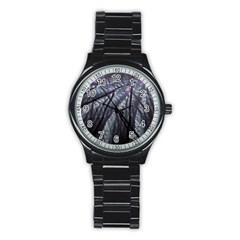 Fractal Art Picture Definition  Fractured Fractal Texture Stainless Steel Round Watch