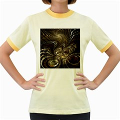 Fractal Art Texture Neuron Chaos Fracture Broken Synapse Women s Fitted Ringer T Shirts