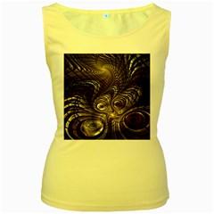 Fractal Art Texture Neuron Chaos Fracture Broken Synapse Women s Yellow Tank Top