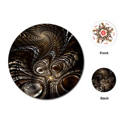 Fractal Art Texture Neuron Chaos Fracture Broken Synapse Playing Cards (Round)