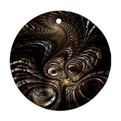 Fractal Art Texture Neuron Chaos Fracture Broken Synapse Round Ornament (Two Sides)