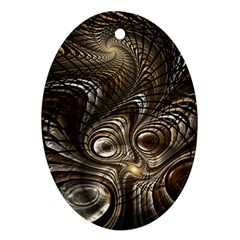 Fractal Art Texture Neuron Chaos Fracture Broken Synapse Oval Ornament (Two Sides)