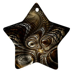 Fractal Art Texture Neuron Chaos Fracture Broken Synapse Star Ornament (Two Sides)