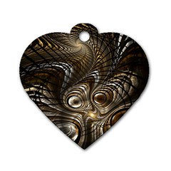 Fractal Art Texture Neuron Chaos Fracture Broken Synapse Dog Tag Heart (Two Sides)