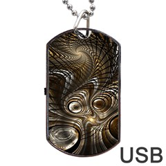 Fractal Art Texture Neuron Chaos Fracture Broken Synapse Dog Tag USB Flash (Two Sides)