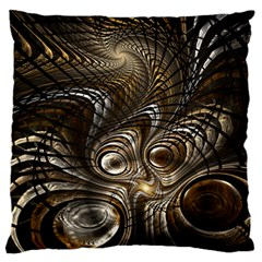Fractal Art Texture Neuron Chaos Fracture Broken Synapse Large Flano Cushion Case (Two Sides)