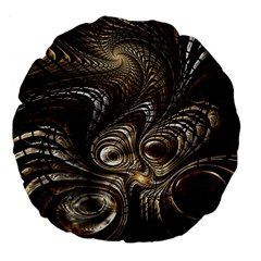 Fractal Art Texture Neuron Chaos Fracture Broken Synapse Large 18  Premium Flano Round Cushions