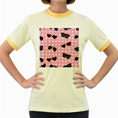 Pisunglass Tech Pink Pattern Women s Fitted Ringer T-Shirts