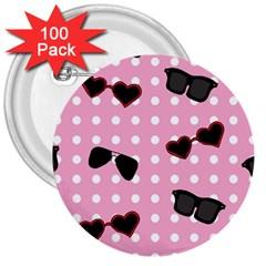 Pisunglass Tech Pink Pattern 3  Buttons (100 Pack)