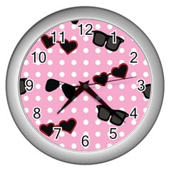 Pisunglass Tech Pink Pattern Wall Clocks (Silver)