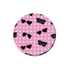 Pisunglass Tech Pink Pattern Rubber Round Coaster (4 Pack)