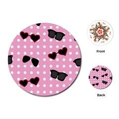 Pisunglass Tech Pink Pattern Playing Cards (Round)