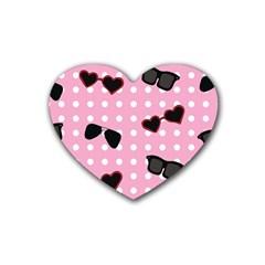 Pisunglass Tech Pink Pattern Rubber Coaster (Heart)