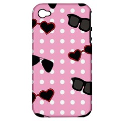 Pisunglass Tech Pink Pattern Apple iPhone 4/4S Hardshell Case (PC+Silicone)