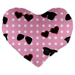 Pisunglass Tech Pink Pattern Large 19  Premium Heart Shape Cushions