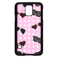 Pisunglass Tech Pink Pattern Samsung Galaxy S5 Case (Black)