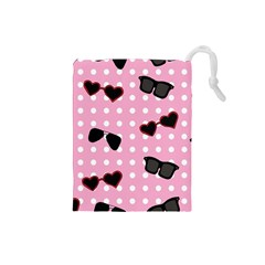 Pisunglass Tech Pink Pattern Drawstring Pouches (Small)