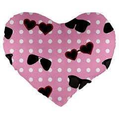 Pisunglass Tech Pink Pattern Large 19  Premium Flano Heart Shape Cushions