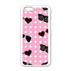 Pisunglass Tech Pink Pattern Apple iPhone 6/6S White Enamel Case