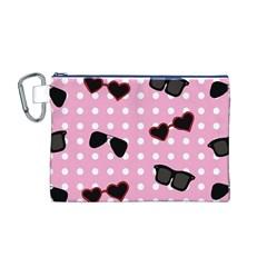 Pisunglass Tech Pink Pattern Canvas Cosmetic Bag (M)