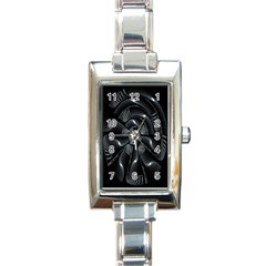 Fractal Disk Texture Black White Spiral Circle Abstract Tech Technologic Rectangle Italian Charm Watch