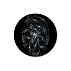 Fractal Disk Texture Black White Spiral Circle Abstract Tech Technologic Magnet 3  (Round)