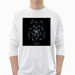 Fractal Disk Texture Black White Spiral Circle Abstract Tech Technologic White Long Sleeve T-Shirts