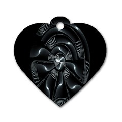 Fractal Disk Texture Black White Spiral Circle Abstract Tech Technologic Dog Tag Heart (one Side)