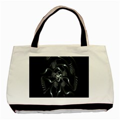 Fractal Disk Texture Black White Spiral Circle Abstract Tech Technologic Basic Tote Bag (two Sides)