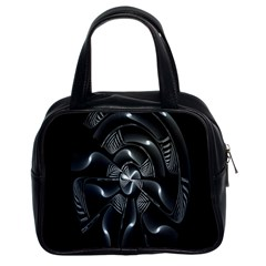 Fractal Disk Texture Black White Spiral Circle Abstract Tech Technologic Classic Handbags (2 Sides)